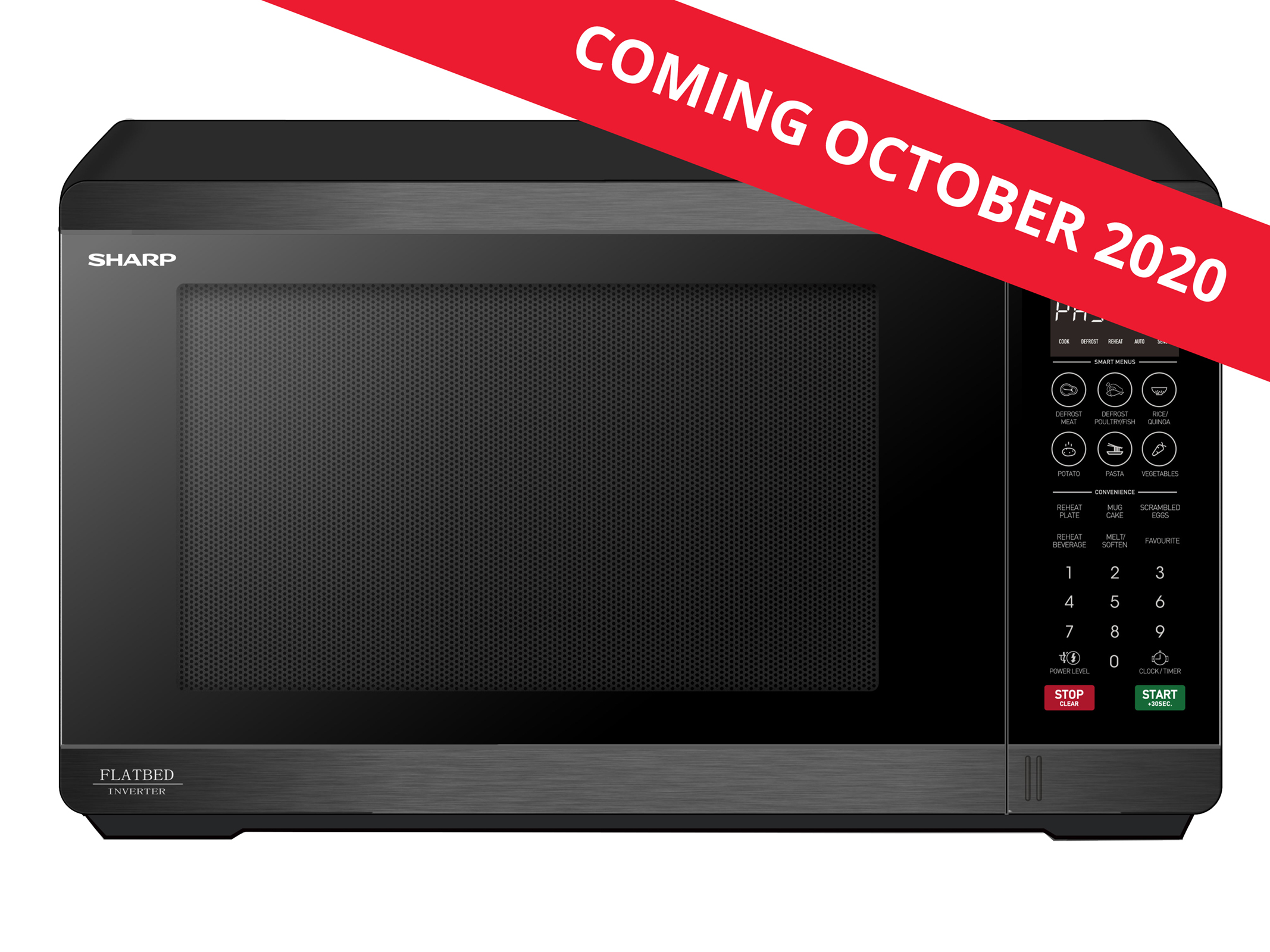 Flatbed Microwave 1200W - Black Stainless Steel