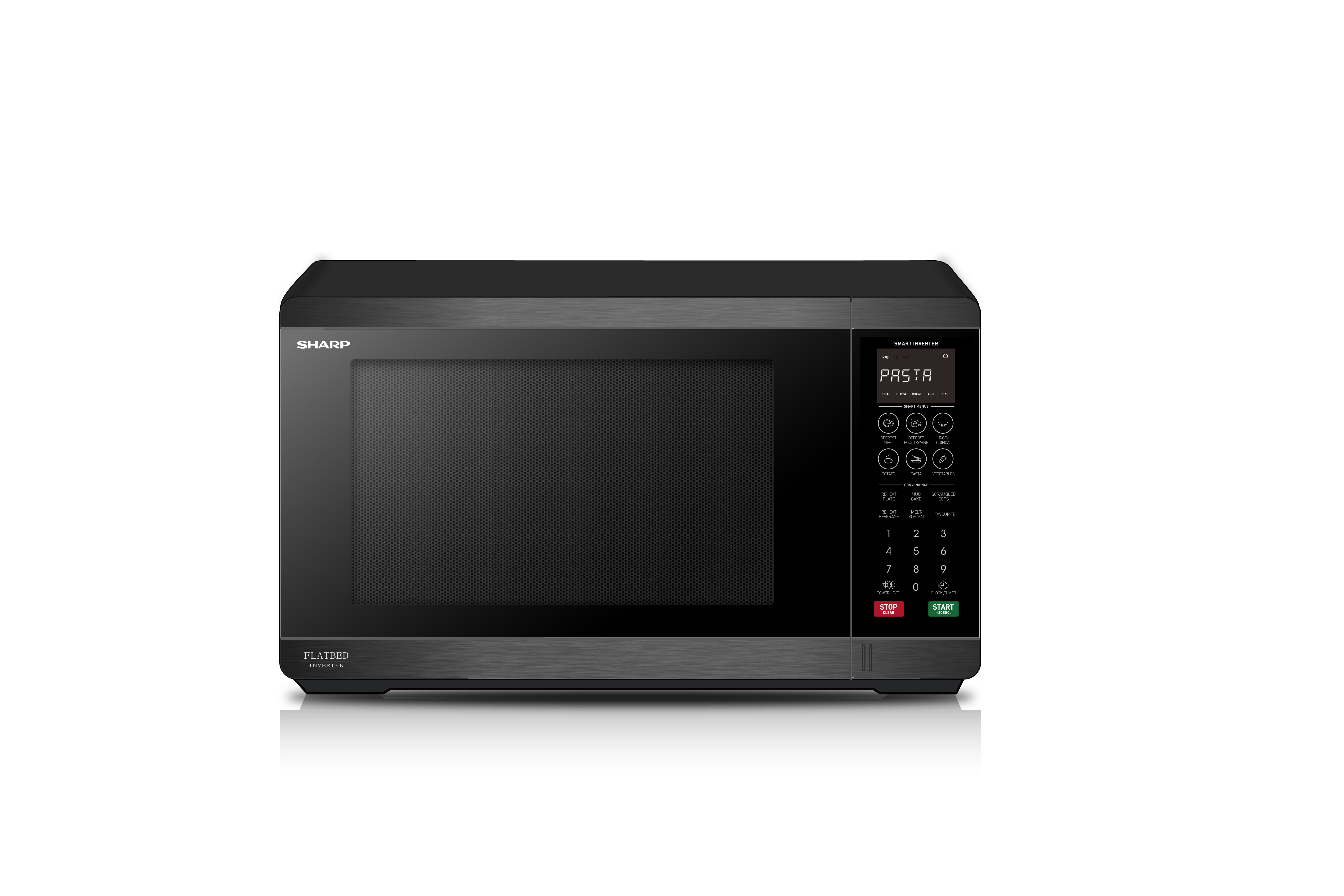 Flatbed Microwave 1200w Black Stainless Steel